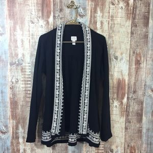 Lucky Brand Embroidered Open Front Cardigan large